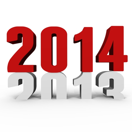New Year 2014 pushing 2013 down - a 3d image Stock Photo