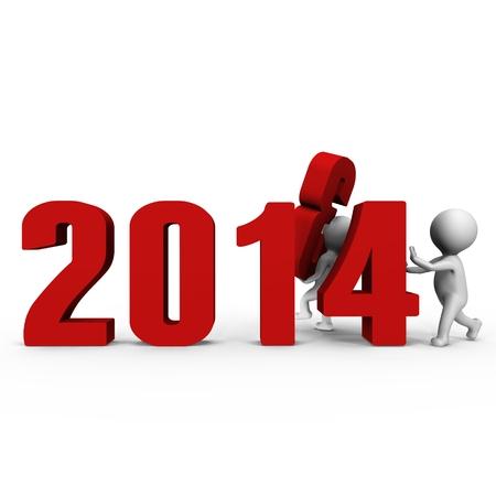 chronologie: Remplacement des num�ros de former de nouvelles 2014 - une image 3d Banque d'images