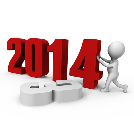 replacing: Replacing numbers to form new year 2014 - a 3d image Stock Photo
