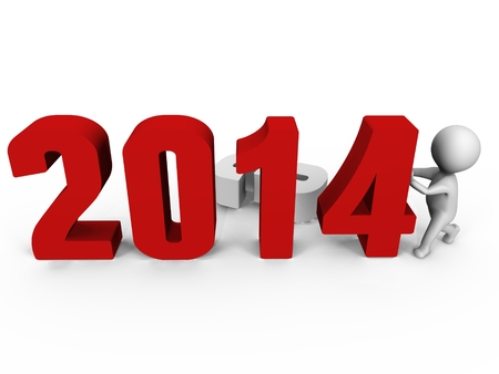 Replacing numbers to form new year 2014 - a 3d image Stock Photo
