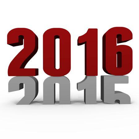 cronologia: Año Nuevo 2016 empujando 2015 hacia abajo - una imagen 3d