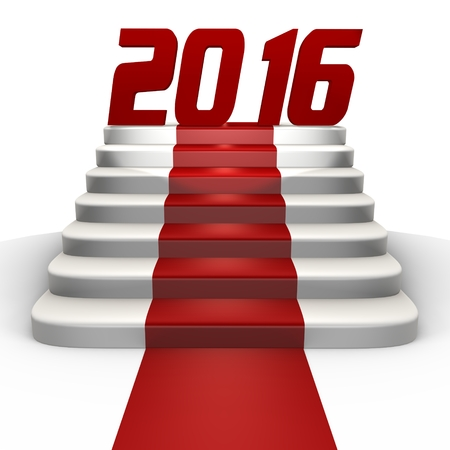 New year 2016 on a red carpet - a 3d image