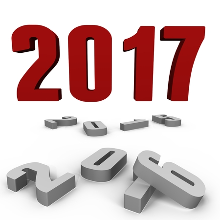 New Year 2017 over the past ones - a 3d image