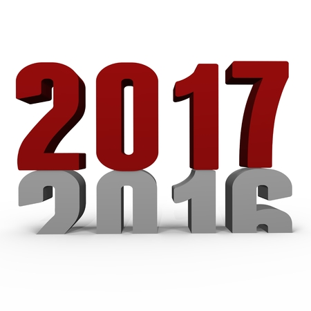 New Year 2017 pushing 2016 down - a 3d image Stock Photo