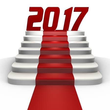 New year 2017 on a red carpet - a 3d image Stock Photo