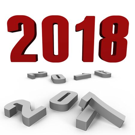 New Year 2018 over the past ones - a 3d image