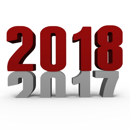New Year 2018 pushing 2017 down - a 3d image