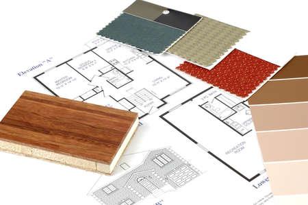 Decoreren samoles met een aantal huis-plannen.