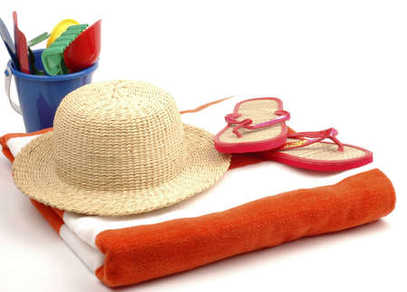 necessary: Items necessary for the beach on a white background.