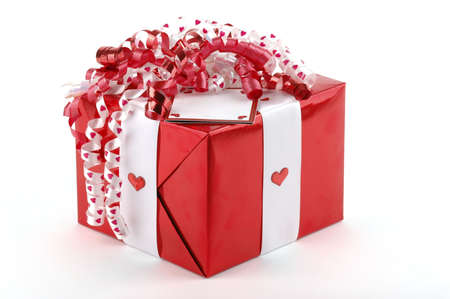 beautifully wrapped: Beautifully wrapped valentines gift. Stock Photo