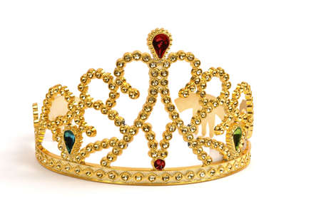 Gold tiara studded with fake jewels and diamonds.
