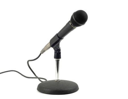 Microphone in a table top stand.