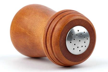 先端、木製塩シェーカーのクローズ アップ。