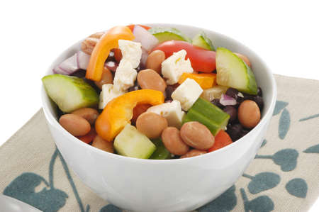 sumptuous: Colorful fresh bean and vegetable salad in a bowl.