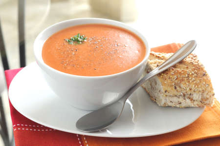 meatless: Hot tomato soup served with crusty bread.