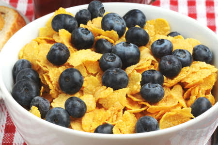 Bowl of ripe blueberries served on corn flakes. Stock Photo - 2550455