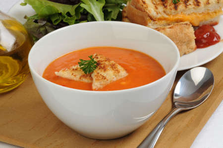 Delicious homemade bowl of red pepper soup. Imagens - 2907848