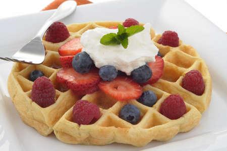 Fresh made waffle with ripe seasonal fruit. Imagens - 3267878