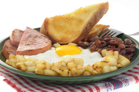 hashbrowns: Delicious ham and egg breakfast with toast and beans.
