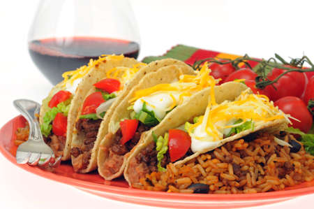 Meal of delicious tacos with mexican style rice. Imagens - 4588833