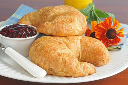 Continental breakfast of fresh croissants and jam.