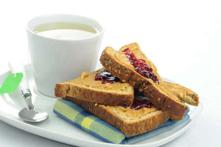 Toast, peanut butter and Jam with a cup of tea.