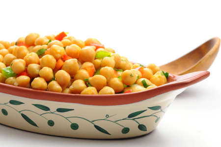 Healthy salad of chickpeas and colorful vegetables.
