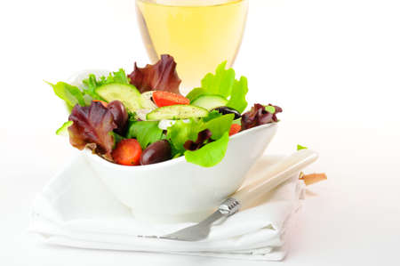 meatless: Garden salad with mixed greens and fresh vegetables. Stock Photo