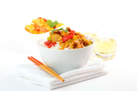 Delicious stir fry of chicken, fresh vegetables and cashews. photo