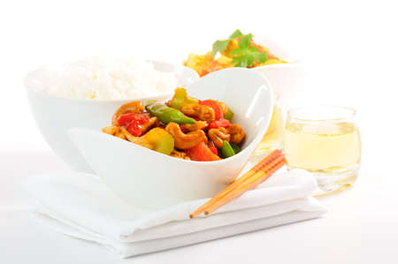 Delicious chinese food on a white backgound. photo