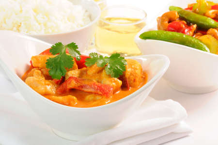 thai pepper: Delicious and colorful bowl of thai curry chicken.