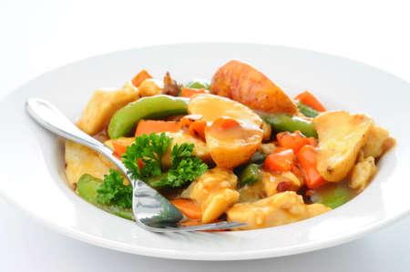 おいしい自家製鶏シチューと野菜のボウル。 写真素材
