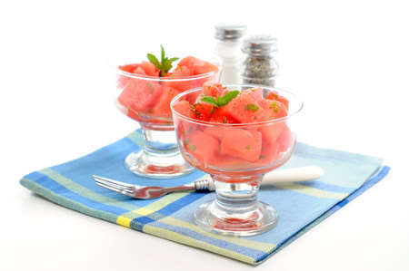 Delicious and refreshing watermelon salad with mint.