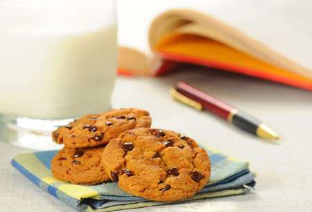 snack: Tasty snack of chocolate chip cookies and milk.