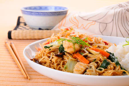 chow: Closeup photo of a delicious chinese dinner. Stock Photo