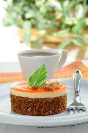 nontraditional: A serving of an nontraditional carrot cake and coffee.