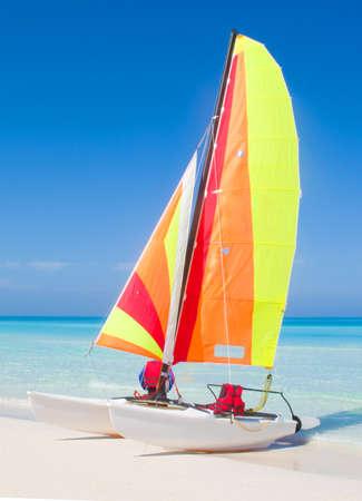 Catamaran on a beautiful beach in the caribbean. Imagens - 8684635