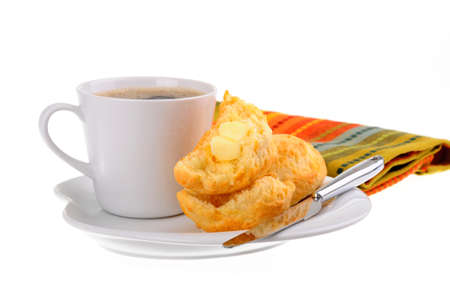 Fresh baked cheese scones served with coffee. Stock Photo - 9088754