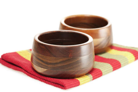hardwoods: Beautiful hand turned wooden bowls made with several different hardwoods. Stock Photo