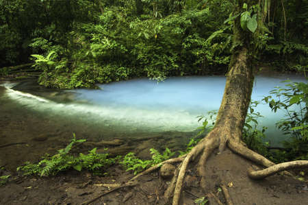 Chemicals contained within the waters of two rivers react to create a vivid blue color. 版權商用圖片