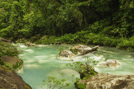 celeste: Chemicals contained within the waters of two rivers react to create the vivid blue color of Rio Celeste in Costa Rica.
