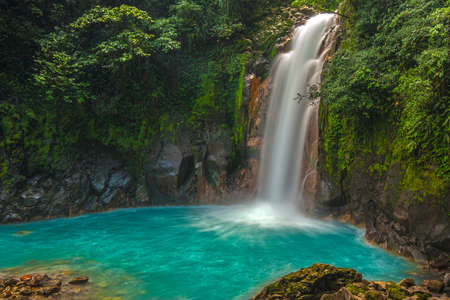 waterfalls: Rio Celeste Waterfall photographed in Costa Rica.