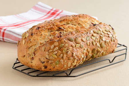 pumpkin seed: Fresh baked cranberry and pumpkin seed bread.
