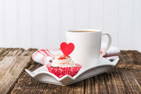 red velvet cupcake: Valentines inspired red velvet cupcake served with coffee. Stock Photo