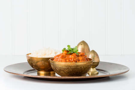 east indian: East Indian chana masala served with white rice.