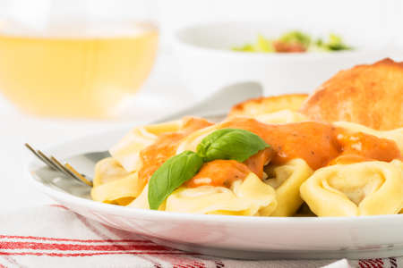 crust crusty: Closeup photograph of tortelloni with rose sauce.  Useful on a menu and other food services marketing.