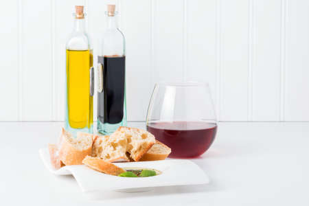 balsamic vinegar: Fresh bread with an olive oil and balsamic vinegar dip.