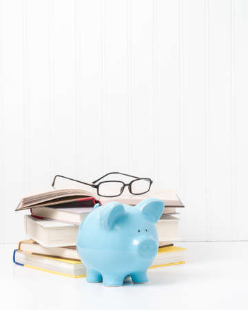 suggests: Pile of textbooks and a blue porcelain piggybank.  Suggests the concept of the cost of education. Stock Photo
