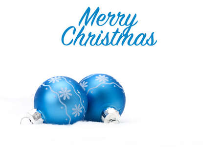 Two blue glass christmas balls with a snowflake motif.