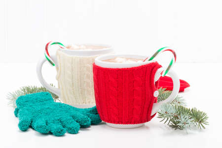 Two mugs of hot chocolate flavored with candy canes. Stock Photo